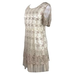 Tops - Cream/Tan Lace Tunic Top